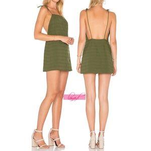 Lovers + Friends Elena Dress Olive Army Open Back